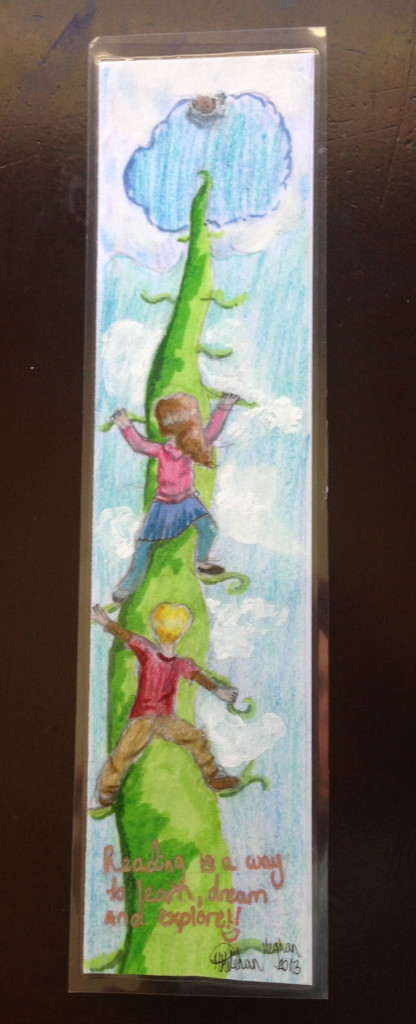 "Beanstalk, by Meghan Holohan (2013)--the text says, ""Reading is a way to learn, dream, and explore!"""