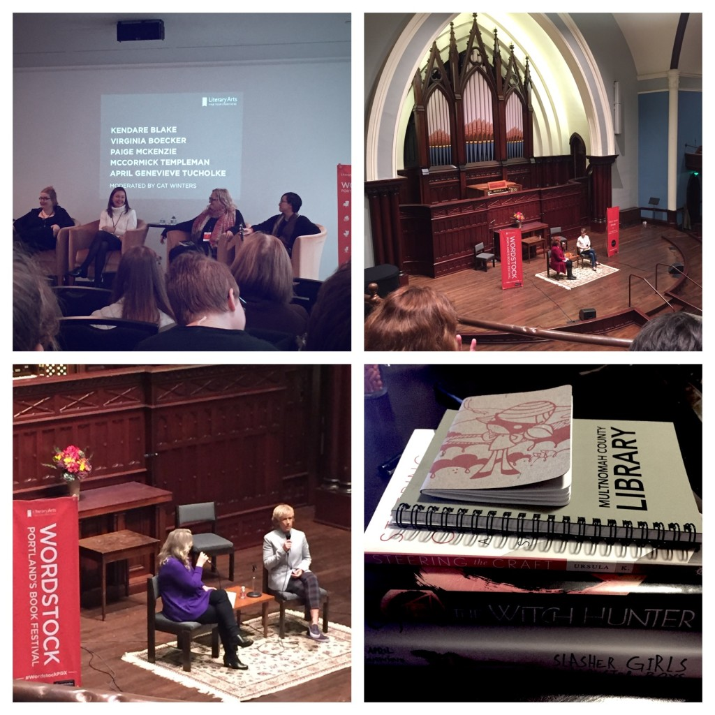 "Pics from Wordstock: 1. The ""Toil & Trouble"" YA Panel, which included two fellow New Leafers, Virginia Boecker and April Genevieve Tulcholke. 2. The Karen Karbo (left) and Stacey Schiff (right) talk in a gorgeous venue. 3. The Cheryl Strayed (left) / Diana Nyad (right) venue, in the same place. (Those two were really fun!) 4. My Wordstock haul, which includes a few books I'll give away soon!"